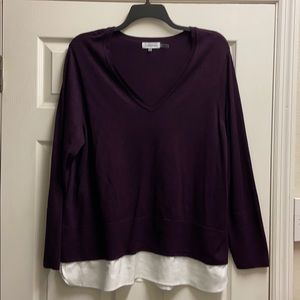 Plum long sleeve sweater with faux white blouse 1X